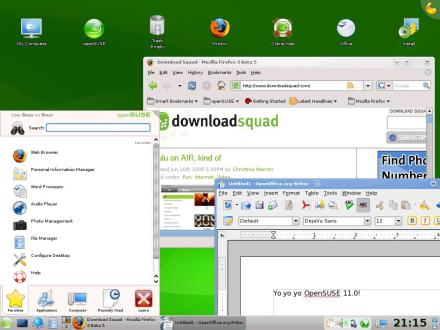 OpenSUSE 11.0 KDE4 desktop with huuuuge resolution