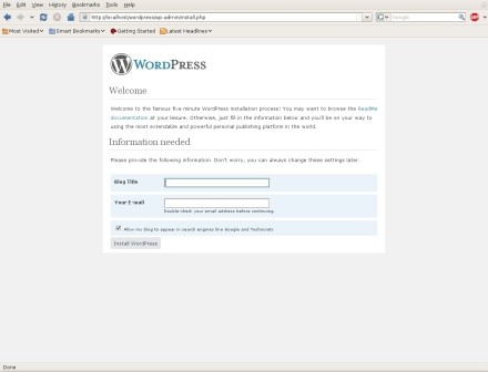 Wordpress install works!