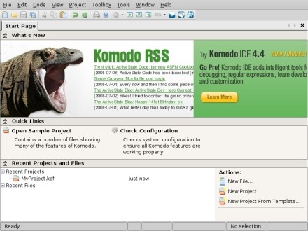 Komodo Start Screen