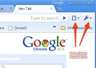Google Chrome - Menu Bar missing