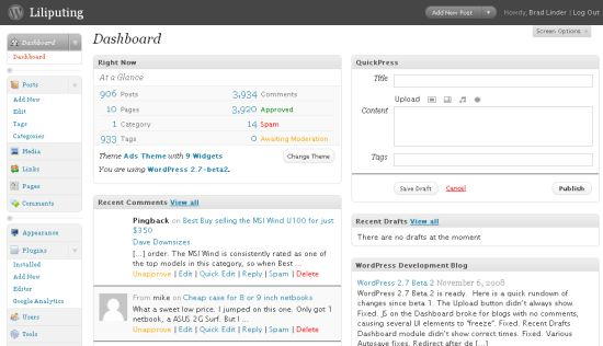 WordPress 2.7 beta 2