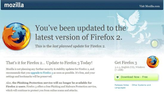 Firefox upgrade prompt
