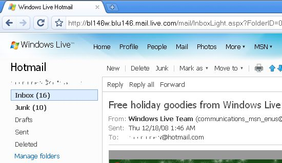 Hotmail and Google Chrome