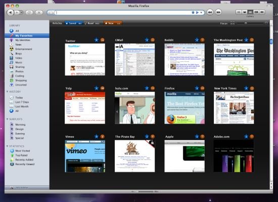 Firefox without tabs mockup