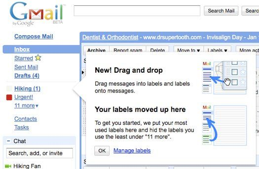 Gmail labels dragn and drop