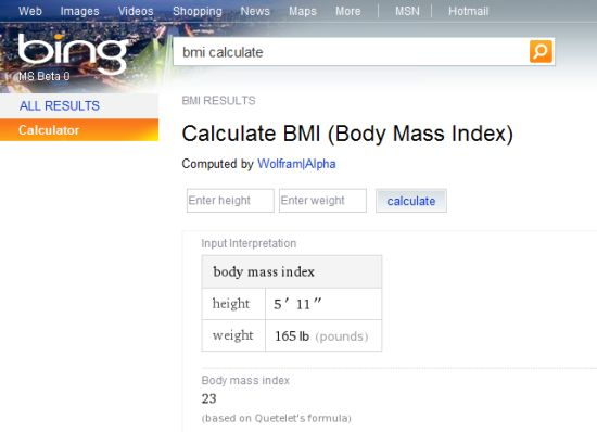 Bing BMI calculator (Wolfram Alpha)