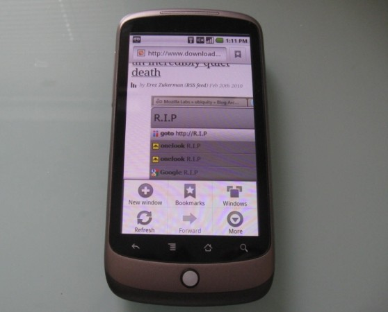 Google Nexus One browser