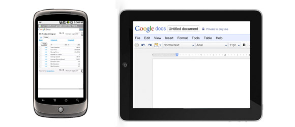 Google Docs on Android, iPad
