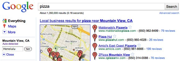 Google location in sidebar