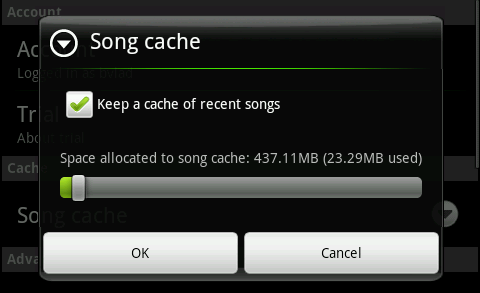 Grooveshark Android Song Cache