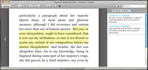 Kindle for Mac highlighting