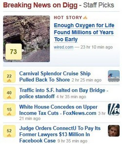 Digg Breaking News section