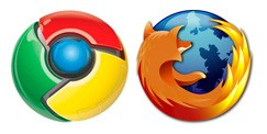 Firefox and Chrome logos
