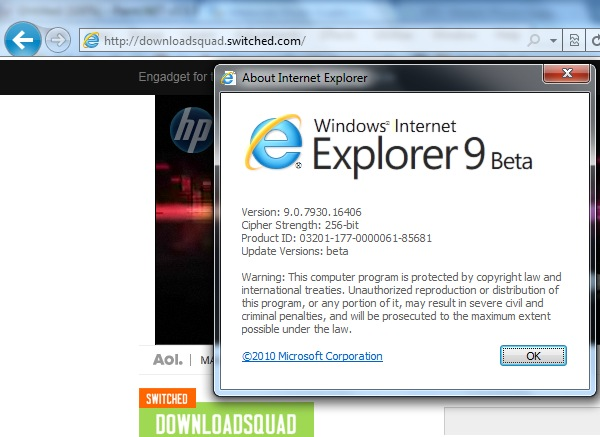 internet explorer 9 beta
