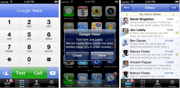 Google Voice for iPhone screenshots