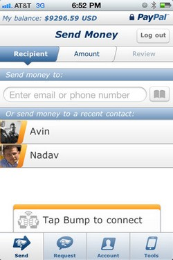 PayPal for iPhone screenshot
