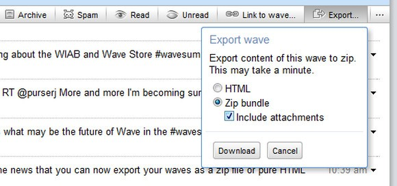 Google Wave Zip export