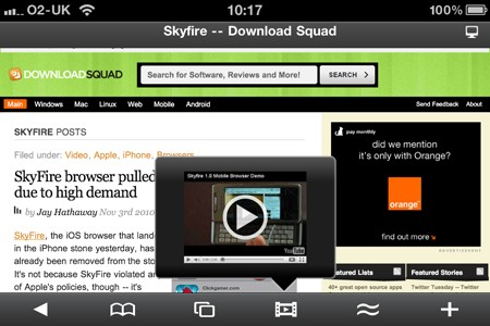 Skyfire browser for iPhone