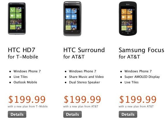 Windows Phone 7 on sale