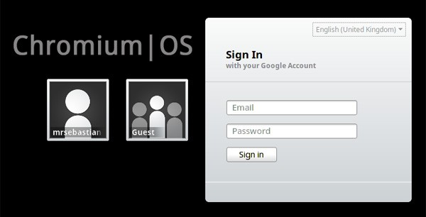 Chromium OS login screen