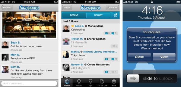 Foursquare check-in photos, history, comments