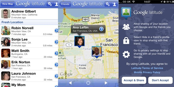 Google Latitude iPhone app