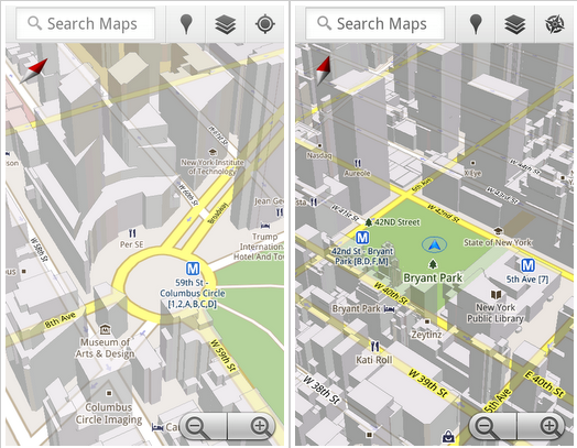 google maps 5 for android 3d screenshot