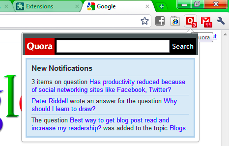 quora chrome extension