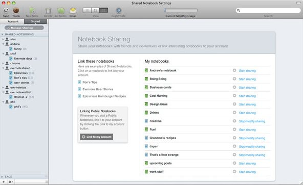 Evernote 2.0 for Mac in-app sharing
