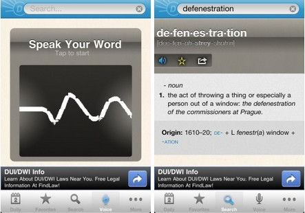 Dictionary.com for iOS voice-to-text