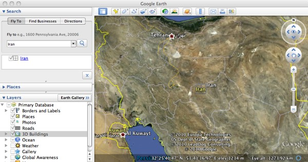 Google Earth Iran