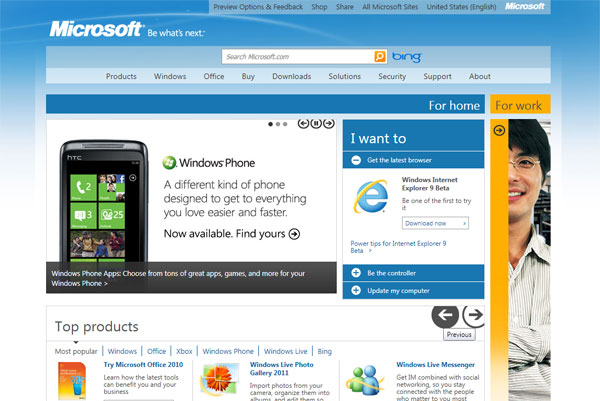 Microsoft new home page