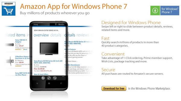 Amazon app for Windows Phone 7