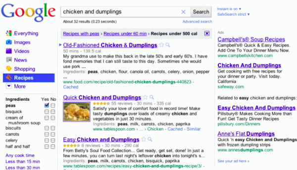 Google adds recipes to search results