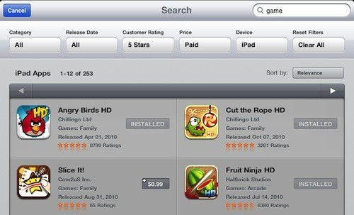 iPad App Store search filters