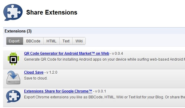 share chrome extensions