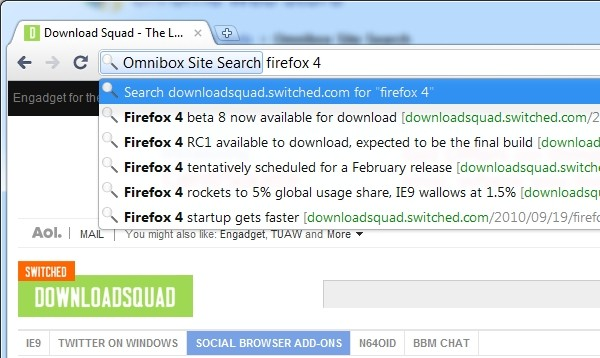 chrome site search omnibox