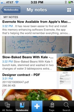 Evernote 4 for iOS, massive UI overhaul