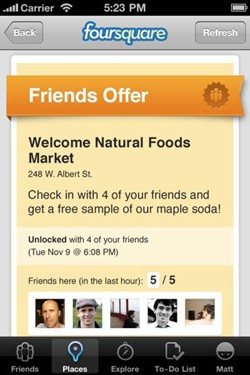 Foursquare Friends check-in deals