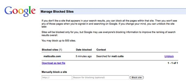 Google lets users block sites from search results