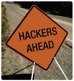 Hackers Ahead sign