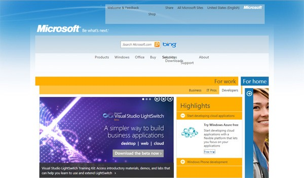 IE6ify versus Microsoft home page