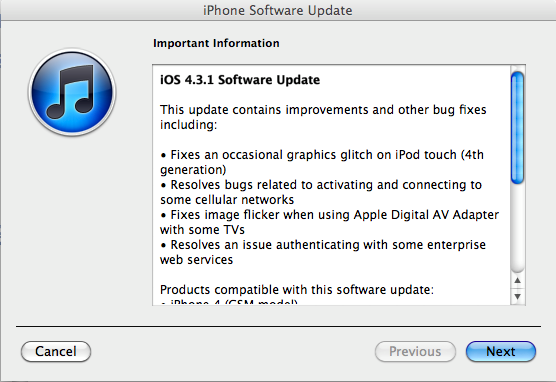 ios 4.3.1 update