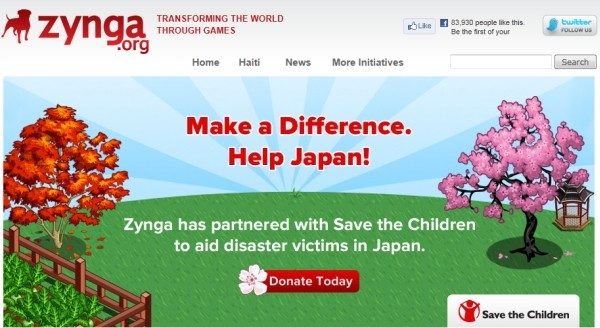 zynga japan earthquake tsunami