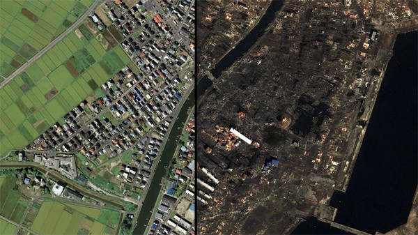 Japan tsunami before and after
