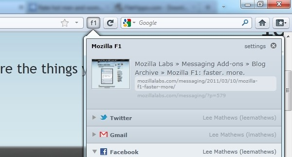mozilla f1 sharing for firefox