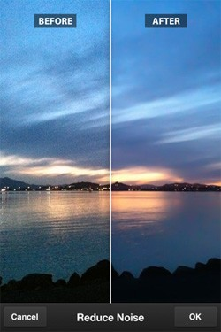Photoshop Express 2.0 for iOS with noise reduction