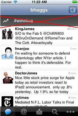 Twitter for iOS QuickBar removed