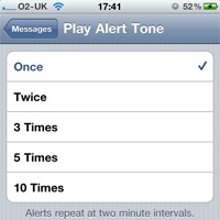 iOS 4.3 iPhone SMS alert tone repeat