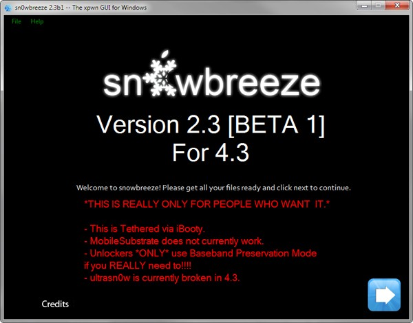 Sn0wbreeze iOS 4.3 jailbreak for Windows